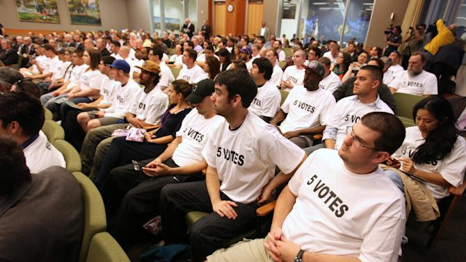 Fund Arena Now members, who support the construction of a new sports and entertainment center, attend the Sacramento City Council meeting wearing T-shirts indicating how many votes are for needed for approval of a new sports arena proposal, in Sacramento, Calif. Tuesday, March 6, 2012. A year after the NBA's Sacramento Kings almost moved to Anaheim, Sacramento's plan to help finance a new $391 million arena was a vote away from approval Tuesday night. (AP Photo/Rich Pedroncelli)