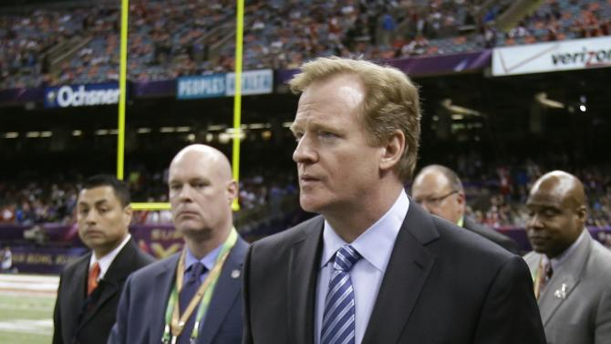 NFL Commissioner Roger Goodell walks on the field before the NFL Super Bowl XLVII football game between the San Francisco 49ers and the Baltimore Ravens, Sunday, Feb. 3, 2013, in New Orleans. (AP Photo/Mark Humphrey)