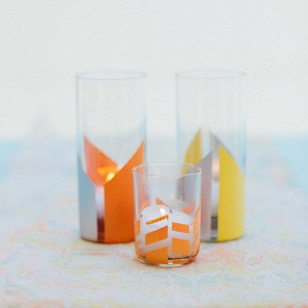 Geometric Painted Votive Holders