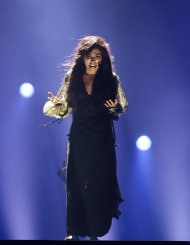 Sweden&#39;s Loreen performs during the second semifinal at the 2012 Eurovision Song Contest at the Baku Crystal Hall in Baku, Friday, May 25, 2012. The finals of the 2012 Eurovision Song Contest will be held at the stadium on May 26, 2012. (AP Photo/Sergey Ponomarev)