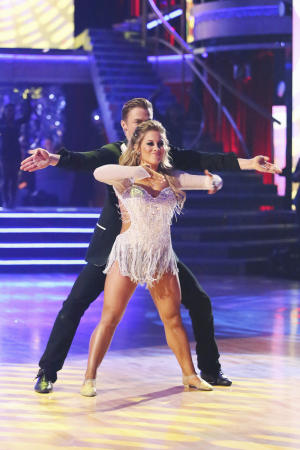 "This Monday, Nov. 26, 2012 publicity photo provided by ABC, shows Derek Hough and Shawn Johnson in ""Dancing with the Stars: All-Stars"" - Episode 1510, as a competing couple in a Super-Sized Freestyle one-hour performance in which they were allowed to add extra performers, to incorporate all kinds of lifts and tricks to create an out-of-this-world entertaining routine on the ABC Television Network. Johnson is a finalist for the ""Dancing with the Stars"" Mirror Ball Trophy on the ABC TV show Tuesday, Nov. 27, 2012. (AP Photo/ABC, Adam Taylor)"