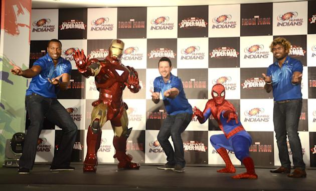 Marvel Super Heroes, Ironmanand Spiderman make a special apperance for Mumbai Indians teammates Ricky Ponting, Lasith Malinga and Kieron Pollard at the unveil of a special  merchandise in Mumbai on Ap