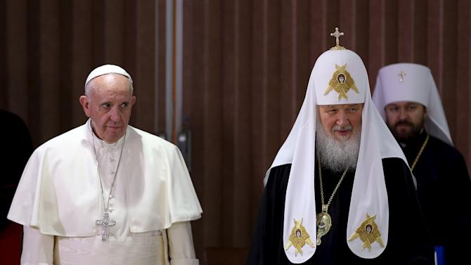 Pope Francis and Russian Orthodox Patriarch Kirill stand together after a meeting in Havana
