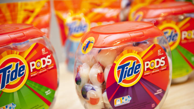 This product image provided by Procter & Gamble Co., shows Tide Pods, three-chamber liquid unit dose pods. (AP Photo/Procter & Gamble Co.)