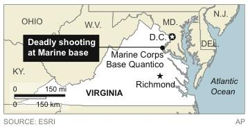 Changes scale from 50 to 150 mi/km; Map locates deadly shooting at Marine base in Virginia