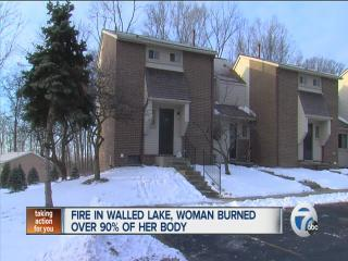 Woman catches fire