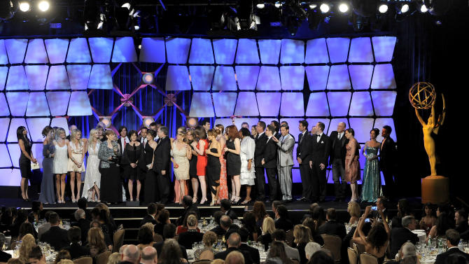 "The cast and crew of ""General Hospital"" accept the award for drama series onstage at the 39th Annual Daytime Emmy Awards at the Beverly Hilton Hotel on Saturday, June 23, 2012 in Beverly Hills, Calif. (Photo by Chris Pizzello/Invision/AP)"
