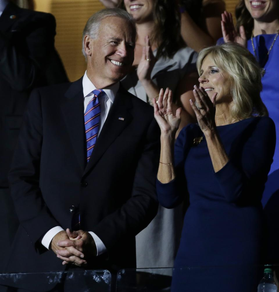 Vice President Joe Biden and his wife Jill applaud during their son Beau Biden's speech at the Democratic National Convention in Charlotte, N.C., on Thursday, Sept. 6, 2012. (AP Photo/Charlie Neibergall)