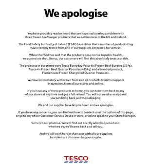 How to Respond to a Social Media Crisis image Tesco apology