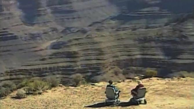 This undated screenshot shows a frame grab from a Hoveround commercial. Members of Congress say the ads by The Scooter Store and Hoveround have lead to hundreds of millions of dollars in unnecessary spending by Medicare, which is only supposed to pay for scooters when seniors are unable to use a cane, walker or regular wheelchair. Government inspectors say up to 80 percent of the scooters and power wheelchairs Medicare buys go to people who don't meet the requirements. And doctors say more than money is at stake: Seniors who use scooters unnecessarily can become sedentary, which can exacerbate obesity and other disorders.(AP Photo/Hoveround)