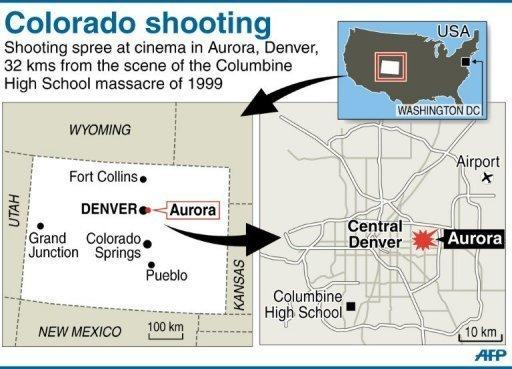 Map of the US state of Colorado, locating shooting in the Denver suburb of Aurora