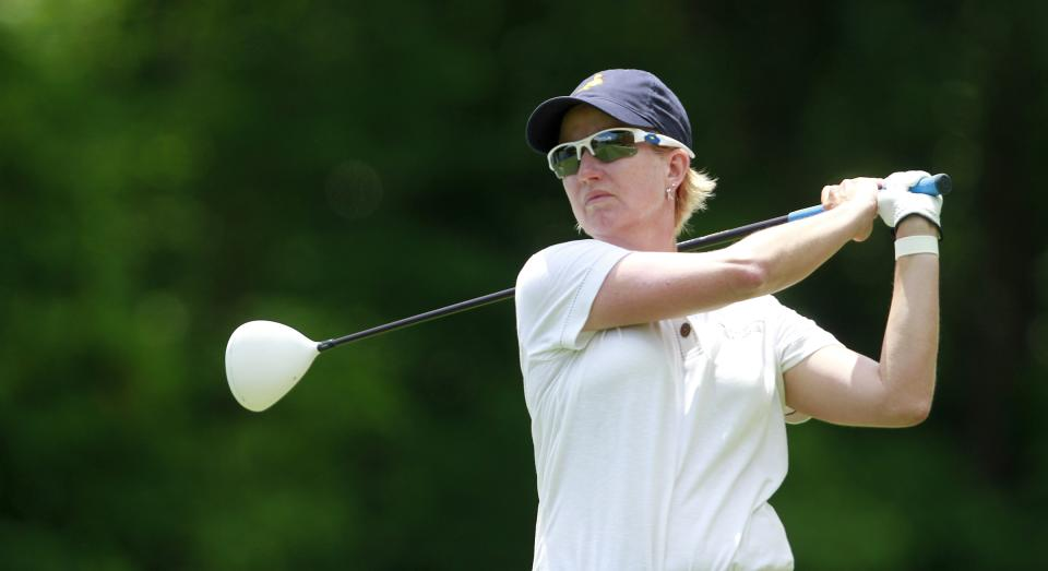 Karrie Webb, of Australia, tees off on the ninth hole during the third round of the Mobile Bay LPGA Classic golf tournament, Saturday, April 28, 2012, in Mobile, Ala. (AP Photo/Press-Register, Bill Starling) MAGS OUT