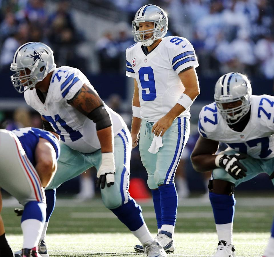 Dallas Cowboys quarterback Tony Romo (9) calls to the line during the second half of their NFL football game against the New York Giants, Sunday, Oct. 28, 2012, in Arlington, Texas. The Giants won 29-24. (AP Photo/The Waco Tribune-Herald, Jose Yau)