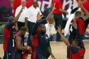 James of the U.S. waves to the crowd after their men's preliminary round Group A basketball match against Tunisia at the Basketball Arena during the London 2012 Olympic Games