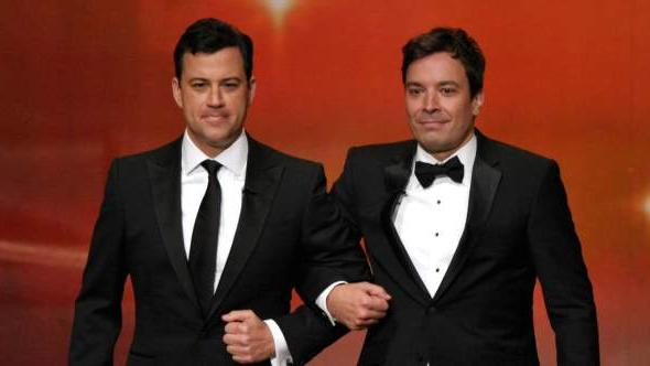 Jimmy Kimmel and Jimmy Fallon speak onstage during the 63rd Primetime Emmy Awards at the Nokia Theatre L.A. Live on September 18, 2011 in Los Angeles -- Getty Images