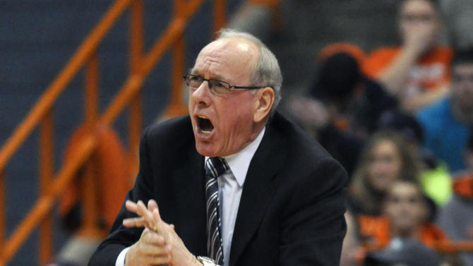 Syracuse coach Jim Boeheim yells to his players during the second half against Cincinnati in an NCAA college basketball game in Syracuse, N.Y., Monday, Jan. 21, 2013. Syracuse won 57-55. (AP Photo/Kevin Rivoli)