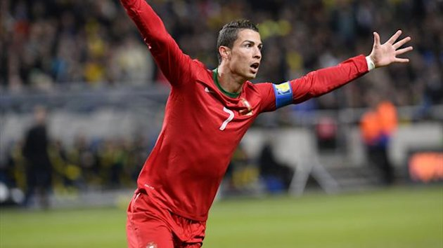 Portugal's forward Cristiano Ronaldo celebrates after scoring during the FIFA 2014 World Cup playoff football match Sweden vs Portugal at the Friends Arena in Solna near Stockholm on November 19, 2013 (AFP)