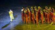This file photo shows British Bangladeshi dancer Akram Khan (L) and children performing during the opening ceremony of the London 2012 Olympic Games, on July 27, 2012. Khan choreographed and performed in a segment of the ceremony