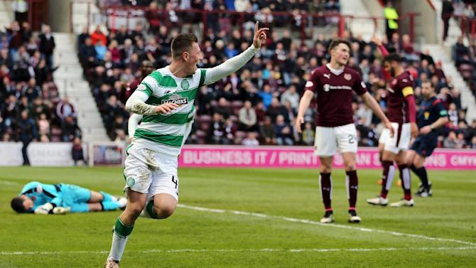 Celtic's Callum McGregor celebrates scoring a goal that was later disallowed