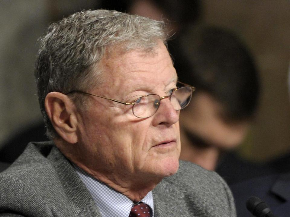 FILE - In this Jan. 31, 2013 file photo, Sen. James Inhofe, R-Okla. is seen on Capitol Hill in Washington. The Senate has rejected Inhofe's amendment to turn the federal food stamp program over to the states.  (AP Photo/Susan Walsh, File)