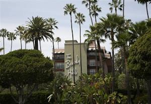 Beverly Hills Hotel, which is owned by the Sultan of Brunei, is seen during a protest over Brunei's strict sharia law penal code in Beverly Hills