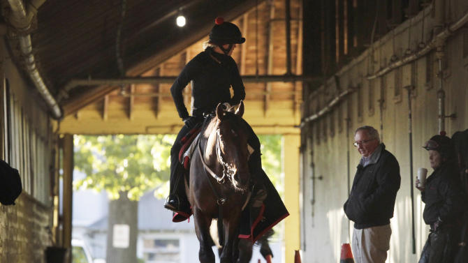 Kentucky Derby winner Orb, with exercise rider Jennifer Patterson aboard, walks in his barn past trainer Shug McGaughey at Belmont Park after a workout, Monday, May 13, 2013 in Elmont, N.Y. Orb is scheduled to travel to Pimlico later in the day to prepare for the Preakness, Saturday, May 18. (AP Photo/Mark Lennihan)