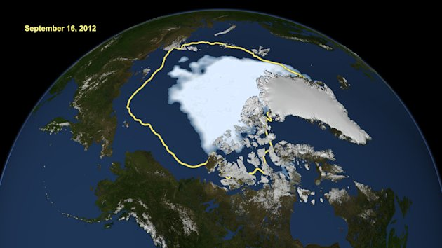 This image made available by NASA shows the amount of summer sea ice in the Arctic on Sunday, Sept. 16, 2012, at center in white, and the 1979 to 2000 average extent for the day shown, with the yellow line. Scientists say sea ice in the Arctic shrank to an all-time low of 1.32 million square miles on Sunday, Sept. 16, 2012, smashing old records for the critical climate indicator. That&#39;s 18 percent smaller than the previous record set in 2007. Records go back to 1979 based on satellite tracking. (AP Photo/U.S. National Snow and Ice Data Center)