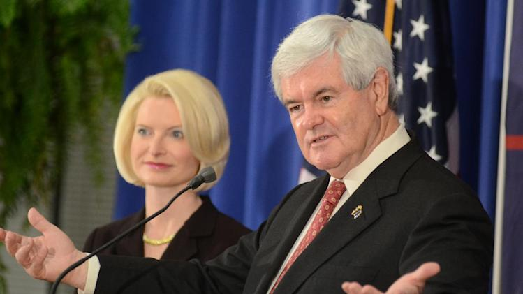 Republican presidential candidate and former House Speaker Newt Gingrich speaks at Louisiana College in Pineville, La., on Wednesday, March, 21, 2012 during his campaign tour. (AP Photo/The Daily Town Talk, Tia Owens-Powers)  NO SALES