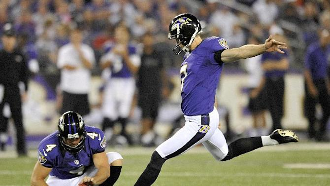 FILE - This Aug. 17, 2012 file photo shows Baltimore Ravens kicker Billy Cundiff (7) kicking the ball during the first half of an NFL preseason football game against Detroit Lions,  in Baltimore. Holding the ball if punter Sam Koch.  person familiar with the move says the Redskins have released kicker Graham Gano and replaced him with Cundiff.  The person told The Associated Press about the move Tuesday, Aug. 28, 2012,  on condition of anonymity because the team had yet to make a formal announcement. Cundiff was cut Sunday by the Ravens. (AP Photo/Gail Burton, File)