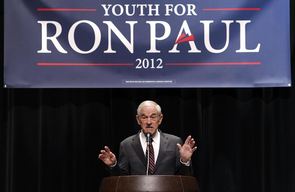 Republican presidential candidate Rep. Ron Paul, R-Texas, speaks at Michigan State University during a rally in East Lansing, Mich., Monday, Feb. 27, 2012. (AP Photo/Paul Sancya)