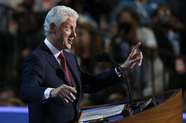 Former President Bill Clinton addresses the Democratic National Convention in Charlotte, N.C., on Wednesday, Sept. 5, 2012. (AP Photo/Carolyn Kaster)