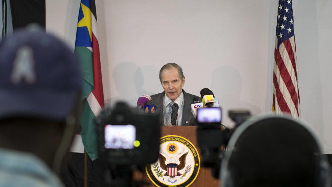 United States Special Envoy to the Sudan region, Princeton Lyman, speaks to the media after a series of high-level meetings with the government in Juba, South Sudan Friday, Dec. 14, 2012. Lyman, who is due to step down in January after two years in the post, said Friday that new security demands raised by Sudan are blocking the implementation of a peace and security deal with South Sudan. (AP Photo/Mackenzie Knowles-Coursin)
