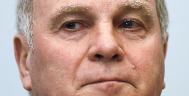 Bayern Munich President Hoeness arrives for the third day of his trial for tax evasion at the regional court in Munich, file