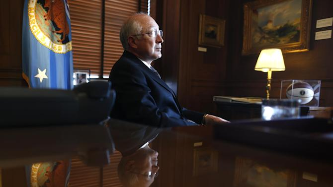 Outgoing Interior Secretary Ken Salazar is interviewed by The Associated Press in his office at the Interior Department in Washington, Friday, April 5, 2013. (AP Photo/Charles Dharapak)