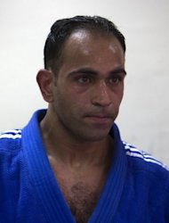 Palestinian judo champion Maher Abu Rmeileh, 28, pictured during a training session in Jerusalem, on May 24. Rmeileh, who comes from east Jerusalem, has become the first Palestinian to qualify on points for the Olympics, winning entry to the London Games