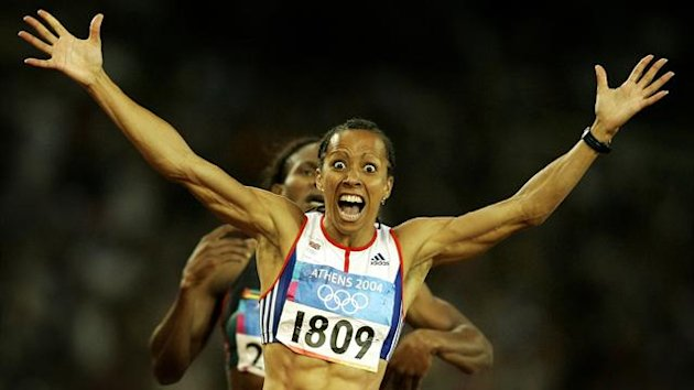 2004 Kelly Holmes wins the 800m at the 2004 Olympics in Athens