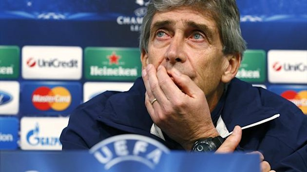 2013Manchester City's manager Manuel Pellegrini speaks during a news conference at the Etihad Stadium
