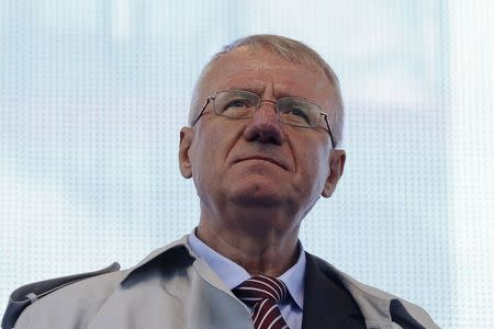 Serbian nationalist leader Vojislav Seselj looks on during his rally in Belgrade