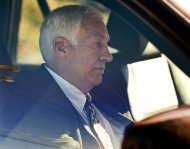 "FILE - In this Nov. 5, 2011 file photo, former Penn State football defensive coordinator Gerald ""Jerry"" Sandusky sits in a car as he leaves the office of Centre County Magisterial District Judge Leslie A. Dutchcot in State College, Pa. Sandusky, who is charged with sexually abusing eight boys in a scandal that has rocked the university, said in an telephone interview with Bob Costas Monday night on NBC News' ""Rock Center"" that there was no abuse and that any activities in a campus shower with a boy were just horseplay, not molestation. (AP Photo/The Patriot-News, Andy Colwell, File)"