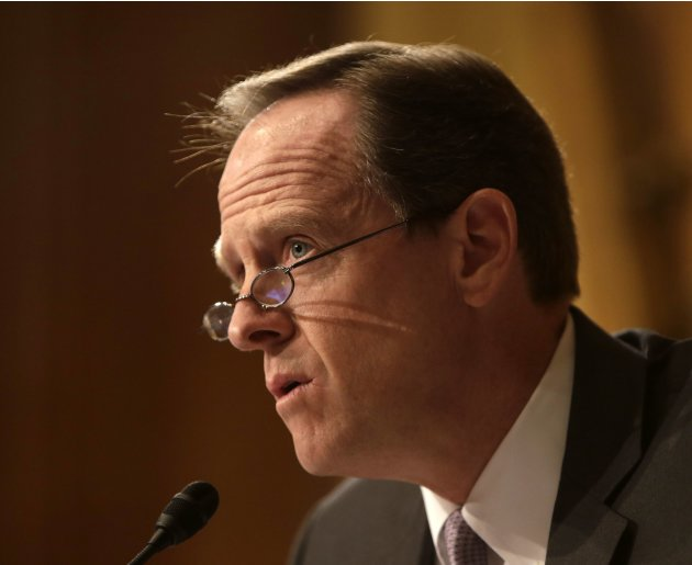 Senator Pat Toomey questions witnesses at the Senate Finance Committee in Washington