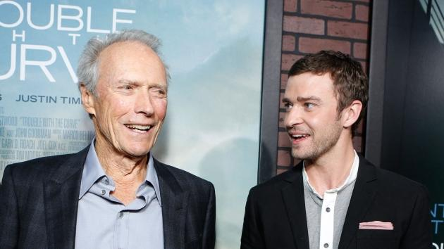 Clint Eastwood and Justin Timberlake at The World Premiere Of Warner Bros. Pictures' 'Trouble With The Curve' held at Mann Village Theatre in Westwood, Calif., on September 19, 2012 -- Getty Premium