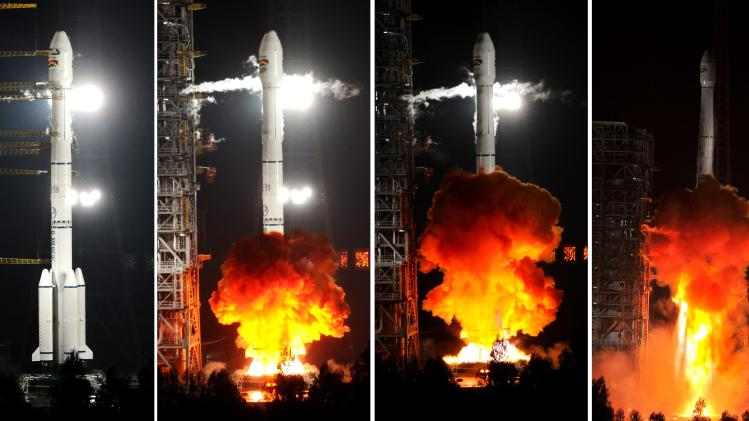 A combination photograph shows a rocket, transporting Bolivia's TK-SAT 1 (Tupac Katari Satellite), being launched in Xichang