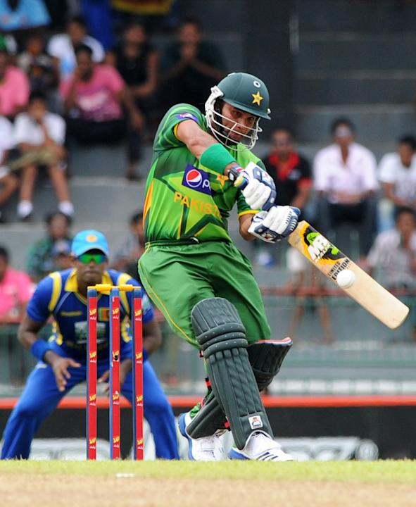 Pakistan cricketer Imran Farhat plays a