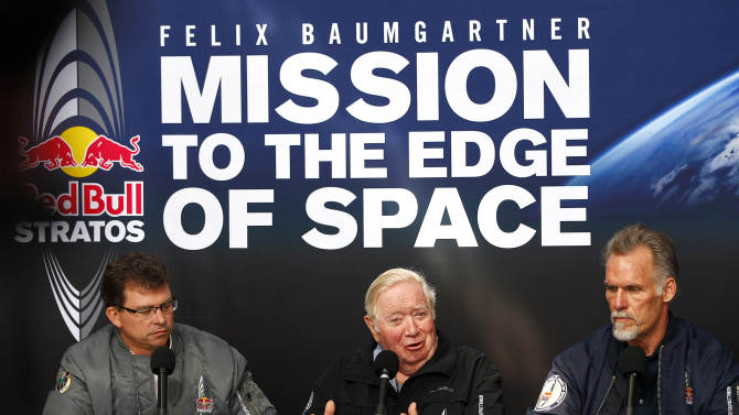 From the left; Mission Control meteorologist Don Day, Capcom 1 skydive record holder Col. Joe Kittinger and Technical Project Director Art Thompson speak to the media Wednesday, Oct. 10, 2012, in Roswell, N.M. to announce a four day hold on Felix Baumgartner's 23-mile-high jump attempt with the earliest projection for a second jump being Sunday. Baumgartner is hoping to become the first skydiver to break the sound barrier by jumping from a capsule floated 23 miles into the stratosphere by 55-story helium balloon. (AP Photo/Matt York)