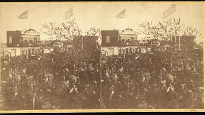 This image provided by The Library of Congress shows the crowd at the Baltimore train depot before the funeral procession for President Abraham Lincoln arrived in 1865. Rare Civil War-era stereoscopic have been acquired by the library from collector Robin Stanford. The images include a set of very rare photos of pre-Civil War slave life on a South Carolina plantation, images from Fort Sumter just after it was seized by the Confederates in April 1861 and ones from Lincoln's funeral procession in various cities. Stereoscopic photography creates the illusion of three-dimensional depth from two similar two-dimensional photographs taken next to each other. (AP Photo/Library of Congress)