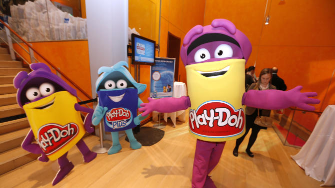 A Play-Doh character attends a blogger event in Hasbro's showroom at the American International Toy Fair, Monday, Feb. 11, 2013, in New York. (Photo by Jason DeCrow/Invision for Hasbro/AP Images)