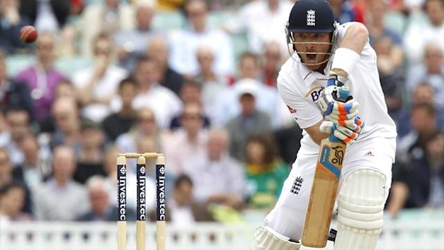 England's Ian Bell hits a shot during the second day of the first international Test cricket match between England and South Africa at the Oval in London on July 20, 2012 (AFP)