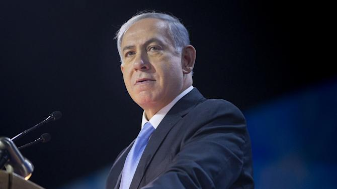 Israeli Prime Minister Benjamin Netanyahu speaks at the American Israel Public Affairs Committee (AIPAC) Policy Conference in Washington, Monday, March 2, 2015. Netanyahu is seizing the high-profile bully pulpit of the U.S. House to deliver his stern message about the dangers of a nuclear deal that President Barack Obama and U.S. allies might sign with Israel's archenemy.  (AP Photo/Pablo Martinez Monsivais)