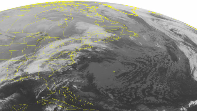 This NOAA satellite image taken Sunday, Dec. 28, 2014 at 12:45 a.m. EST shows a broad frontal boundary from the Northeast down across the Eastern U.S. into the Southern Plains. This is bringing heavy to moderate rain to the Northeast, Mid-Atlantic, Ohio Valley, Tennessee Valley, Lower Mississippi Valley, Southeastern U.S. and the Southern Plains. Snow showers are present in northern New England. A few snow showers are developing in the Great Lakes from lake effect. (AP Photo/Weather Underground)