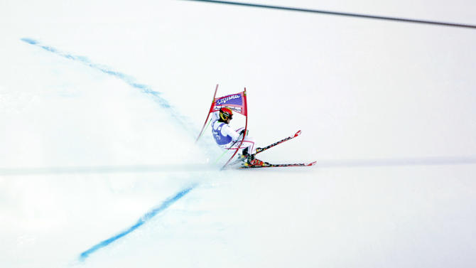 Austria's Marcel Hirscher makes a mistake at the end of an alpine ski, men's World Cup giant slalom in Adelboden, Switzerland, Saturday, Jan.12, 2013. (AP Photo/Alessandro Trovati)